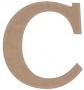 unpainted wooden letter C