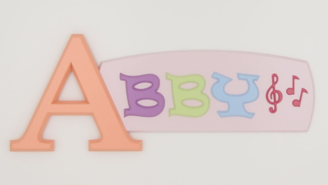 painted wooden name sign for Abby