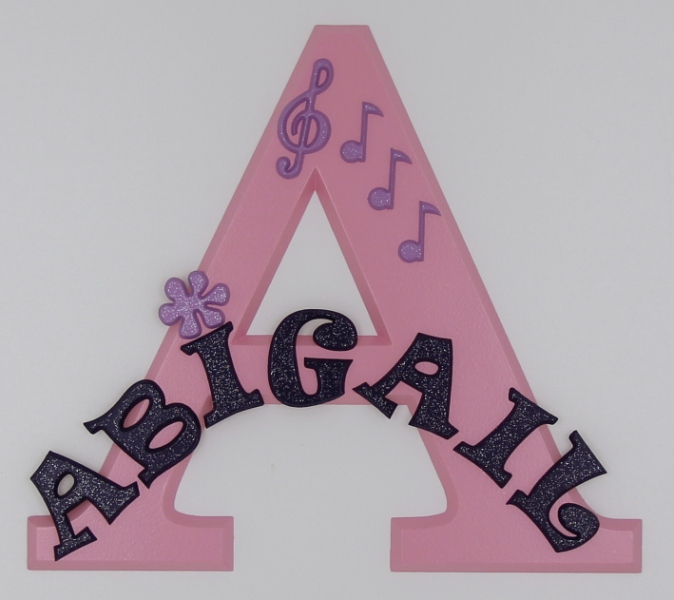 painted wooden name sign for Abigail