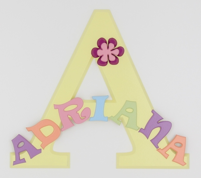 painted wooden name sign for Adriana