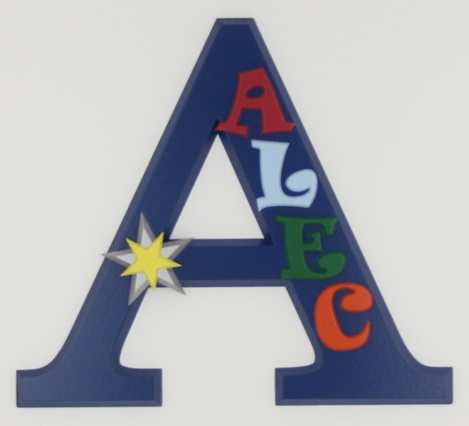 painted wooden name sign for Alec