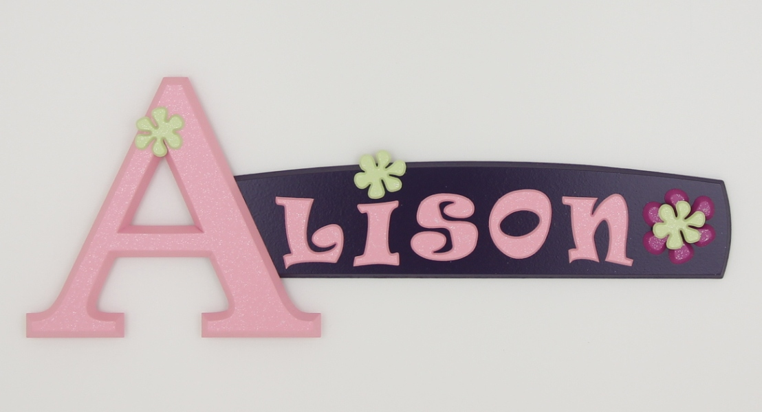 painted wooden name sign for Alison