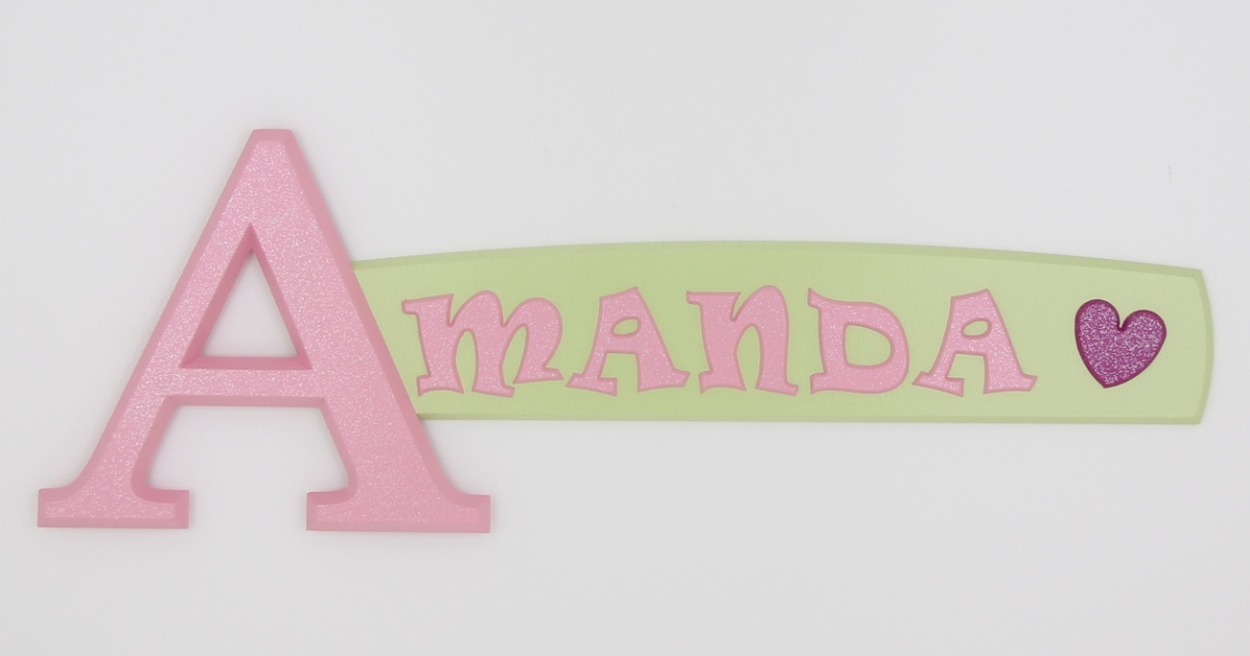 painted wooden name sign for Amanda