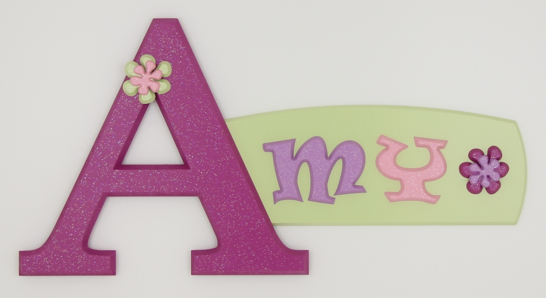 painted wooden name sign for Amy
