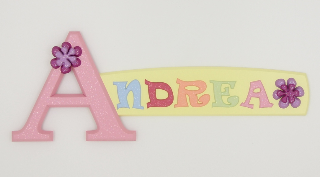 painted wooden name sign for Andrea