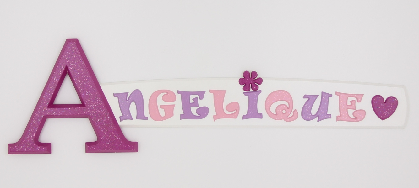 painted wooden name sign for Angelique