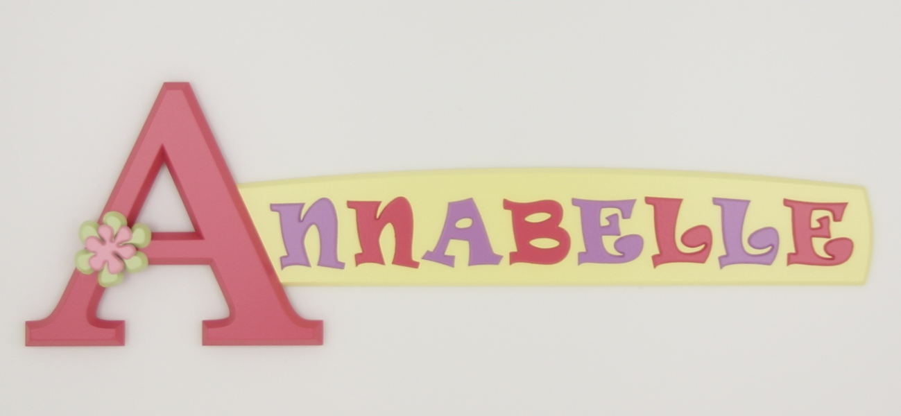 painted wooden name sign for Annabelle