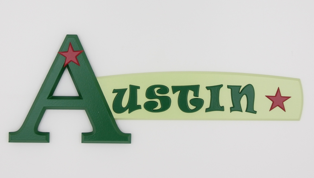painted wooden name sign for Austin