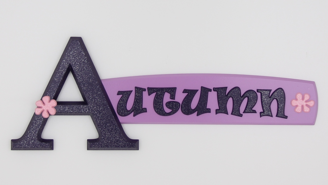 painted wooden name sign for Autumn