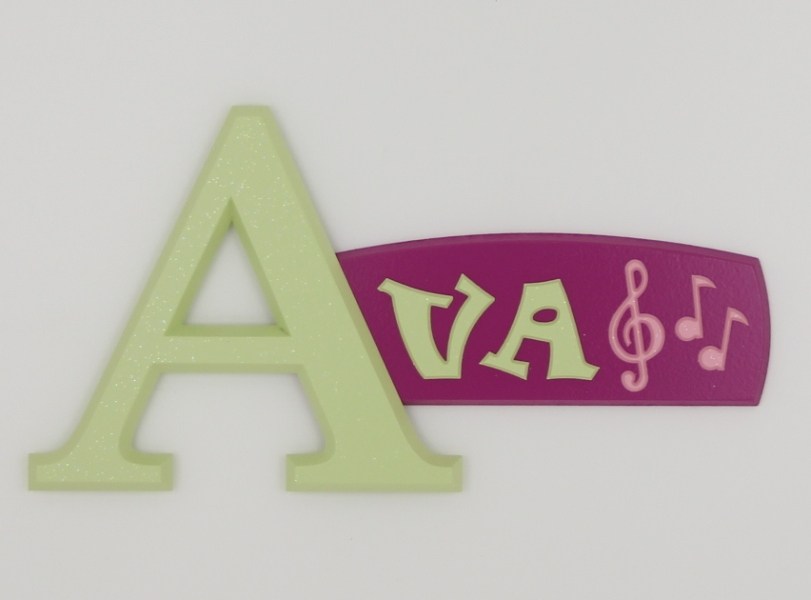painted wooden name sign for Ava