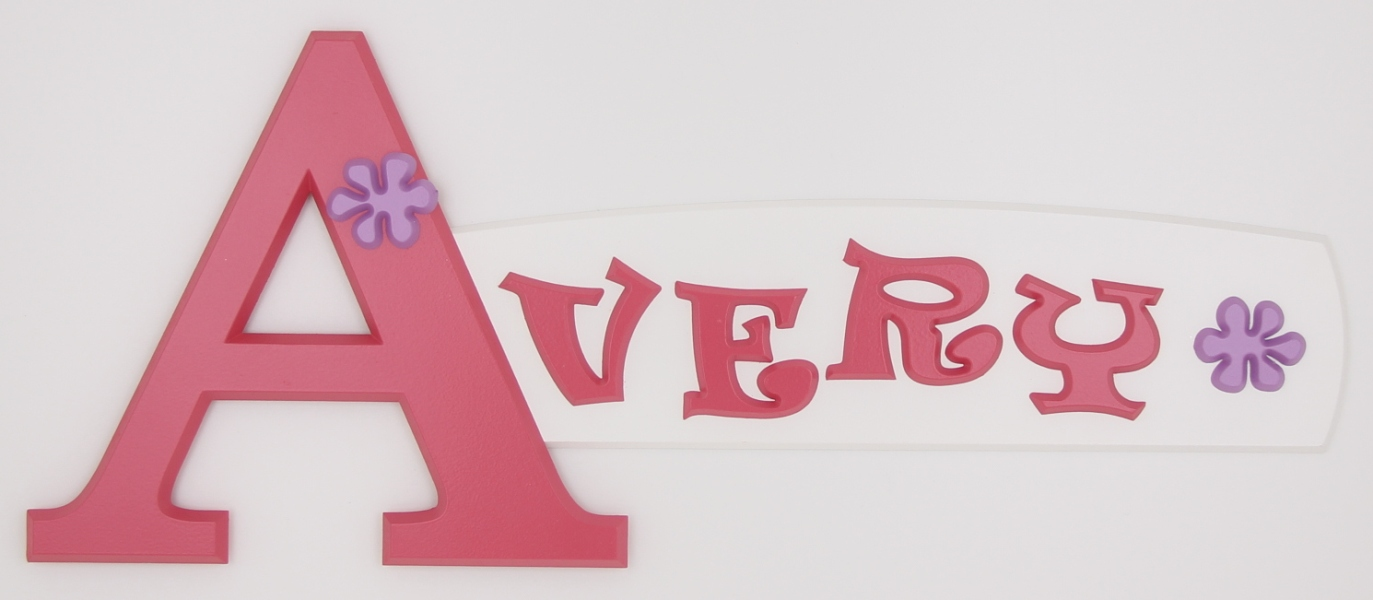 painted wooden name sign for Avery