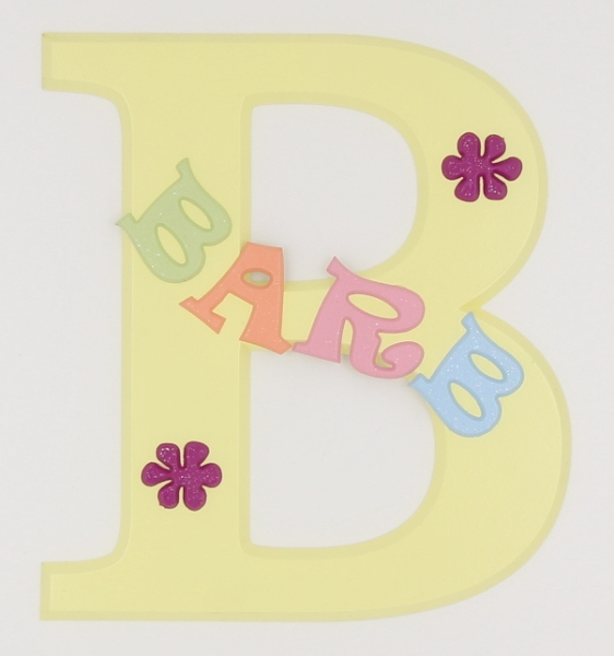 painted wooden name sign for Barb