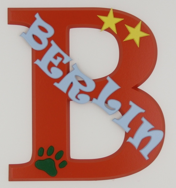 painted wooden name sign for Berlin