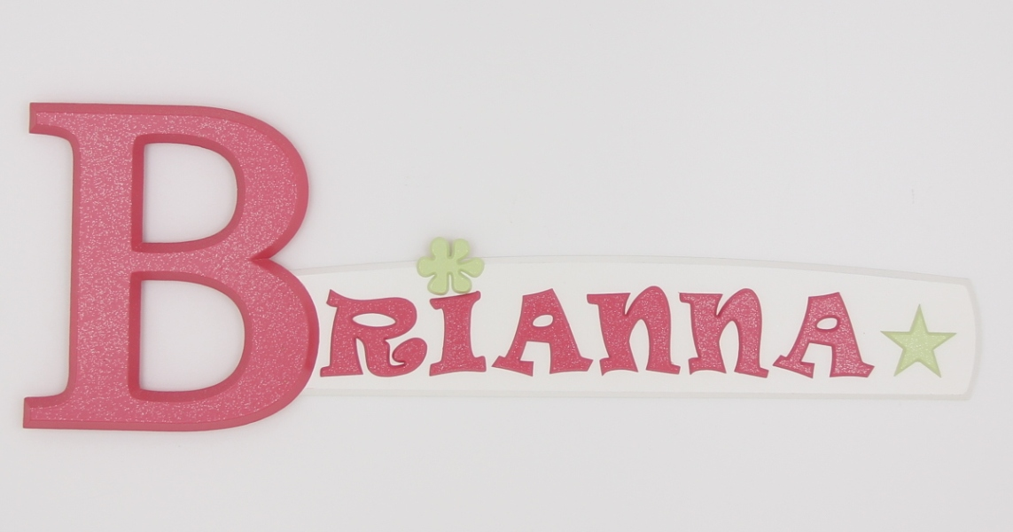 painted wooden name sign for Brianna