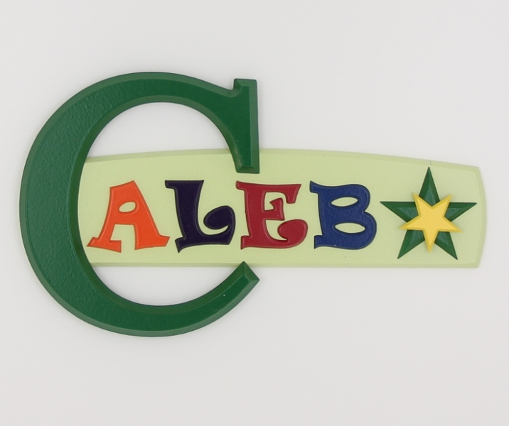 painted wooden name sign for Caleb