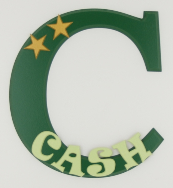 painted wooden name sign for Cash