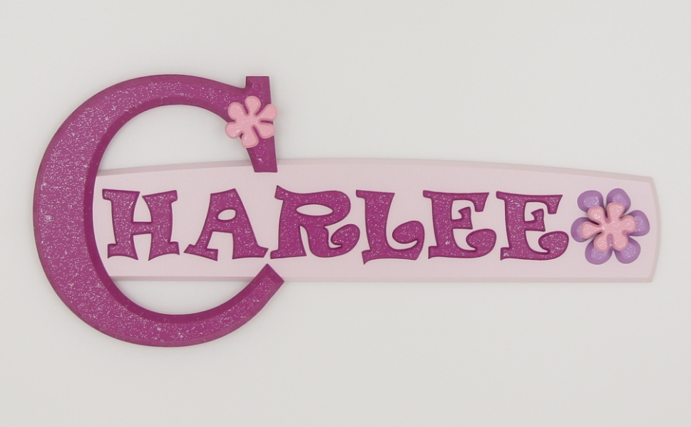 painted wooden name sign for Charlee