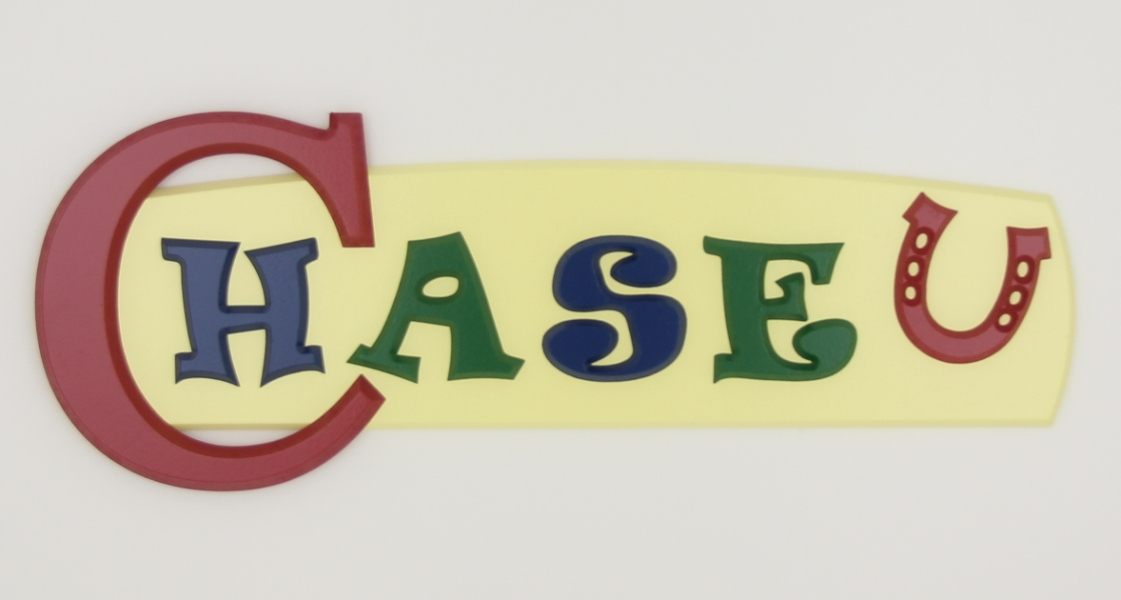 painted wooden name sign for Chase