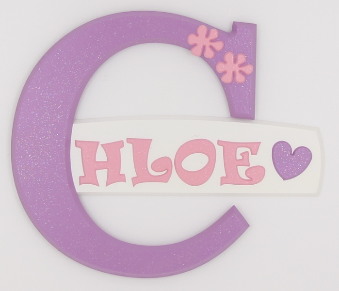 painted wooden name sign for Chloe