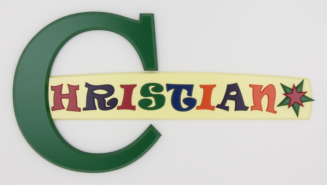 painted wooden name sign for Christian