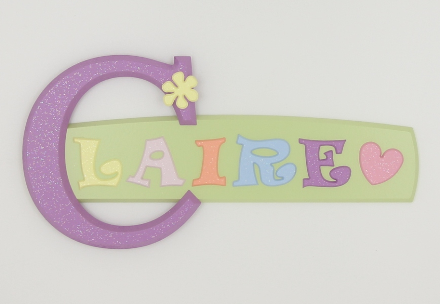 painted wooden name sign for Claire
