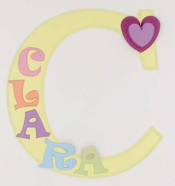 painted wooden name sign for Clara