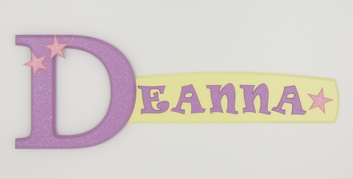 painted wooden name sign for Deanna