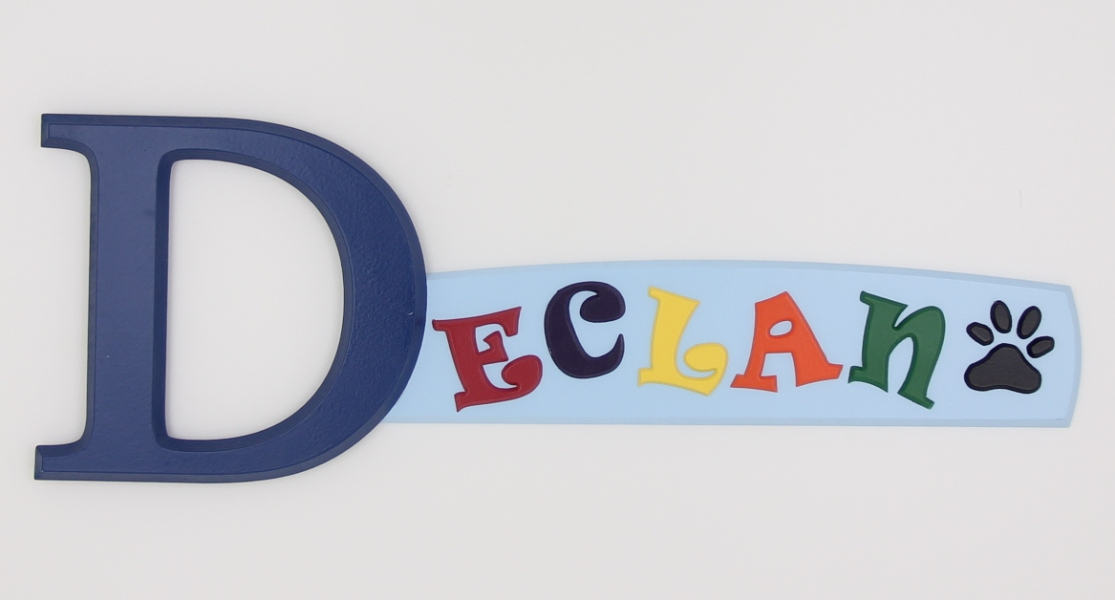 painted wooden name sign for Declan
