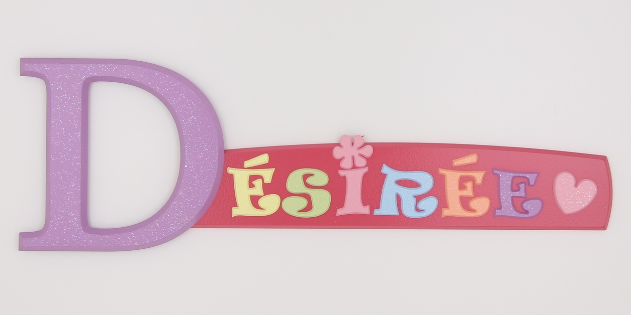 painted wooden name sign for Desiree