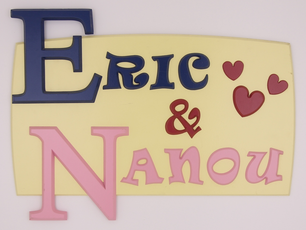 painted wooden name sign for Eric & Nanou