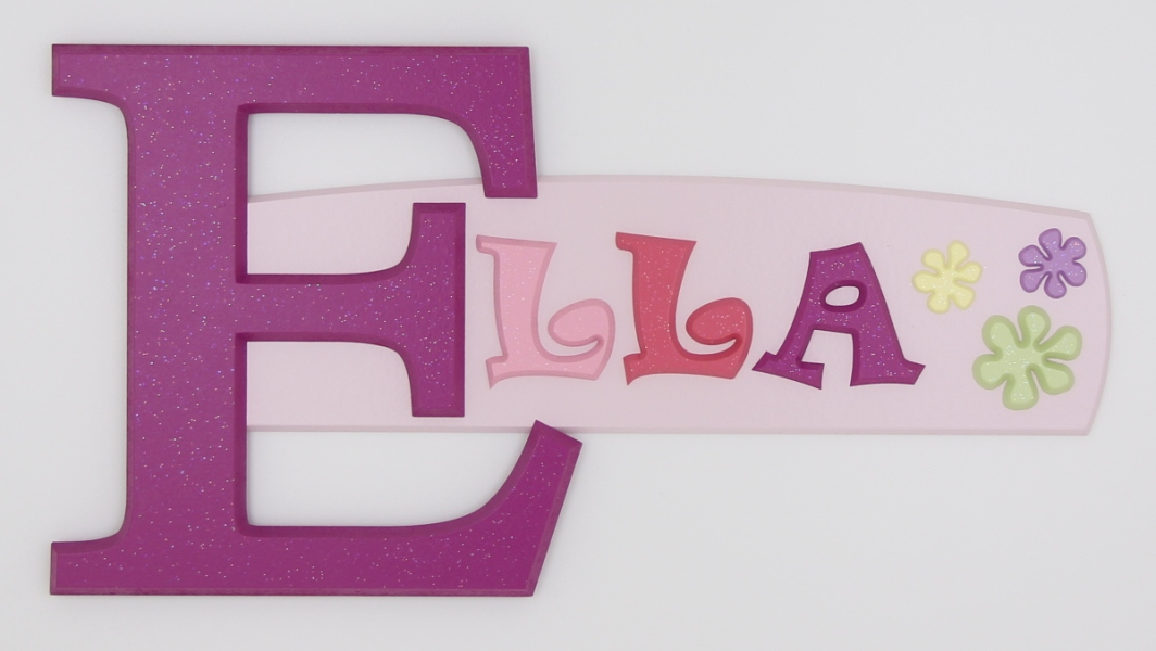 painted wooden name sign for Ella