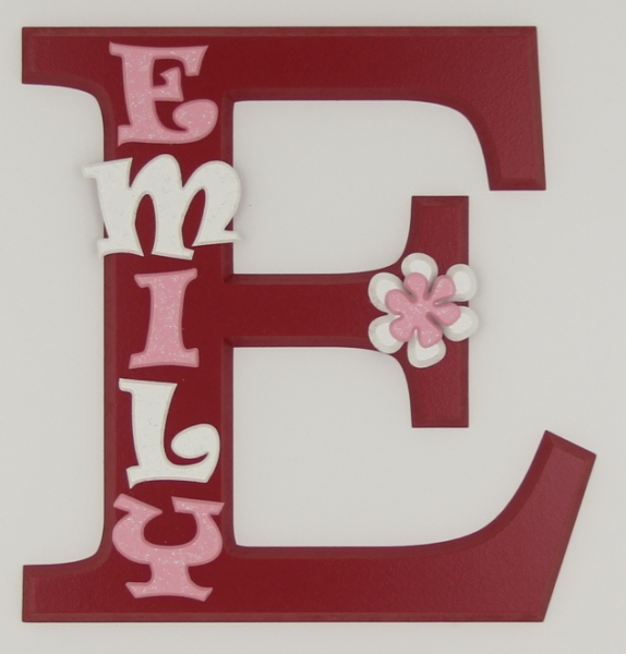 painted wooden name sign for Emily