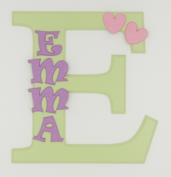 painted wooden name sign for Emma