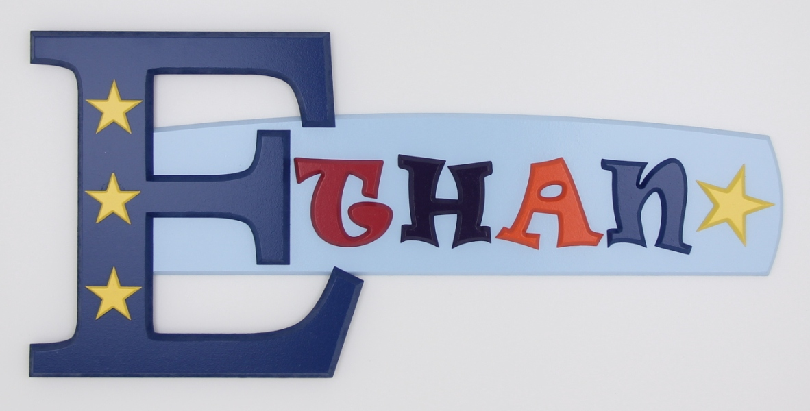 painted wooden name sign for Ethan
