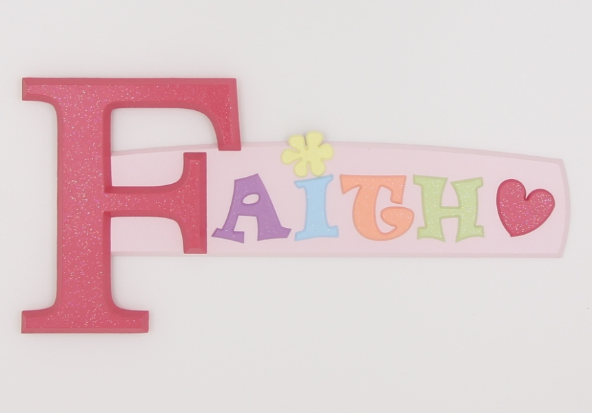 painted wooden name sign for Faith