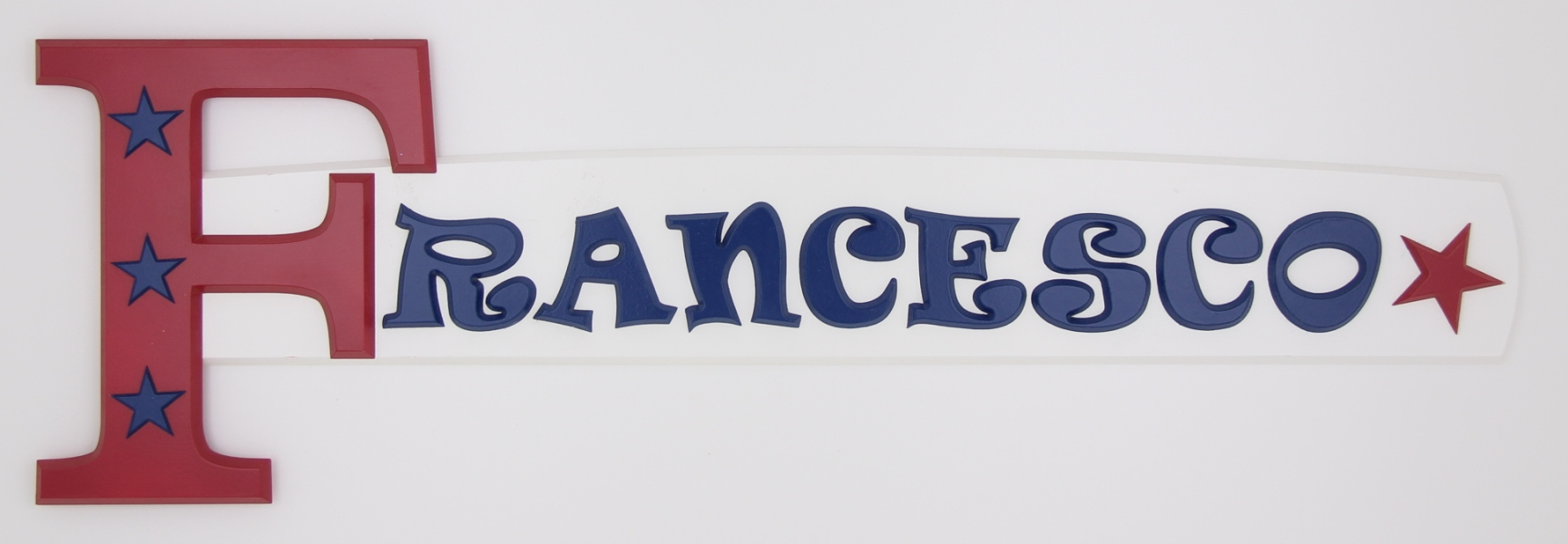 painted wooden name sign for Francesco