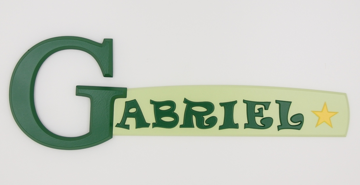 painted wooden name sign for Gabriel