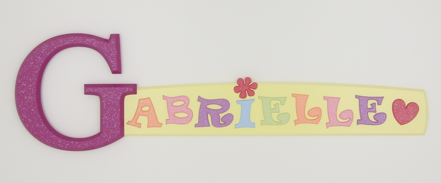 painted wooden name sign for Gabrielle