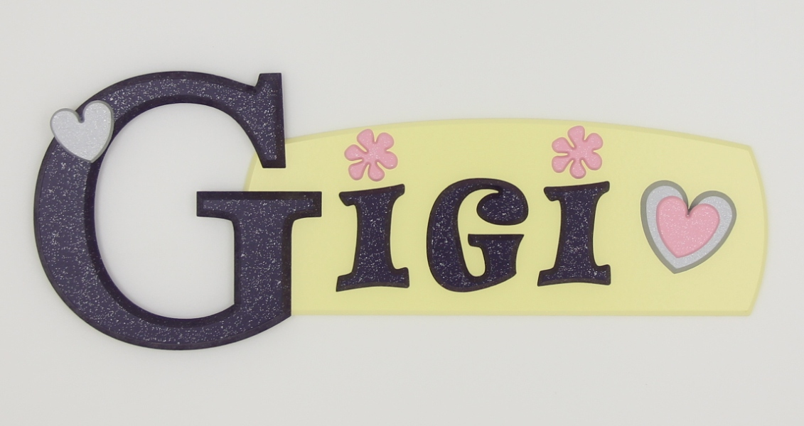 painted wooden name sign for Gigi