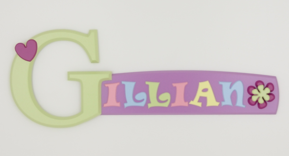 painted wooden name sign for Gillian