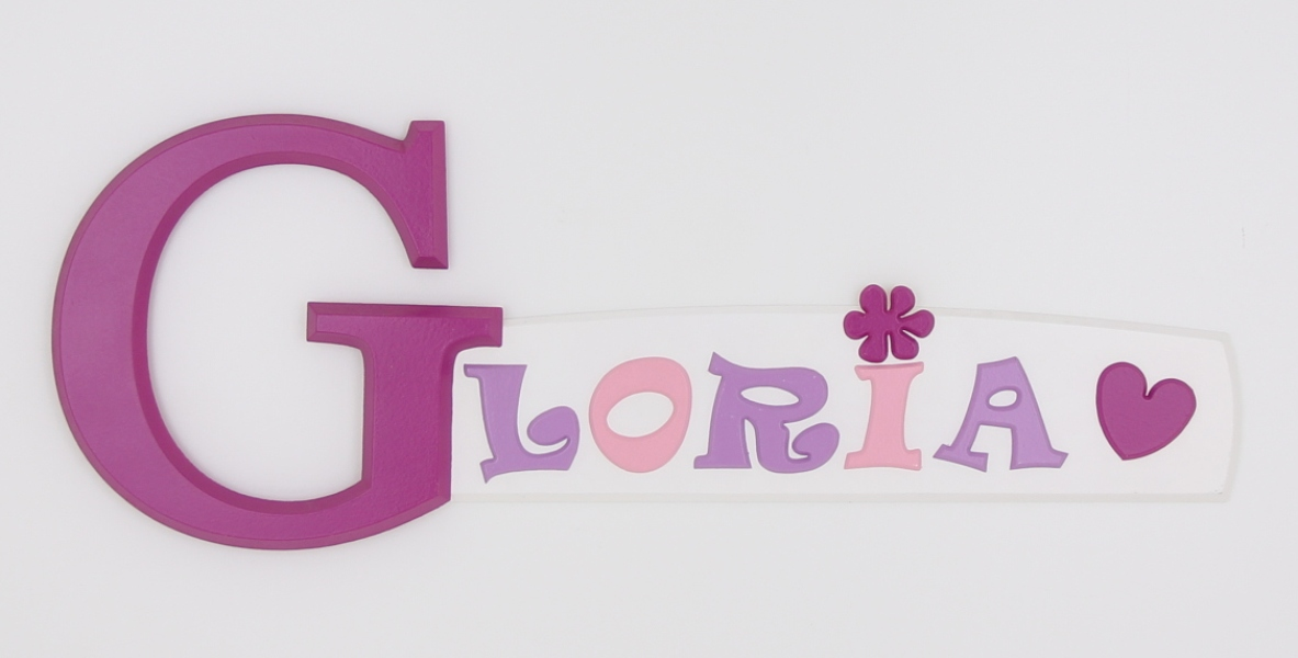 painted wooden name sign for Gloria