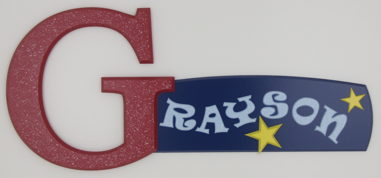 painted wooden name sign for Grayson