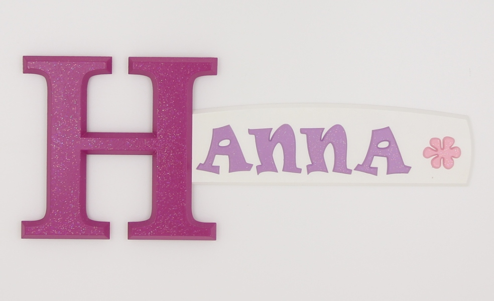 painted wooden name sign for Hanna