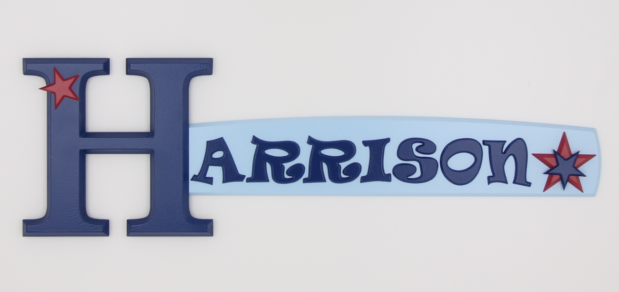 painted wooden name sign for Harrison