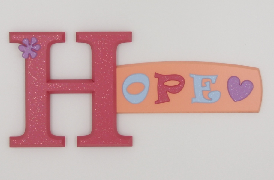 painted wooden name sign for Hope