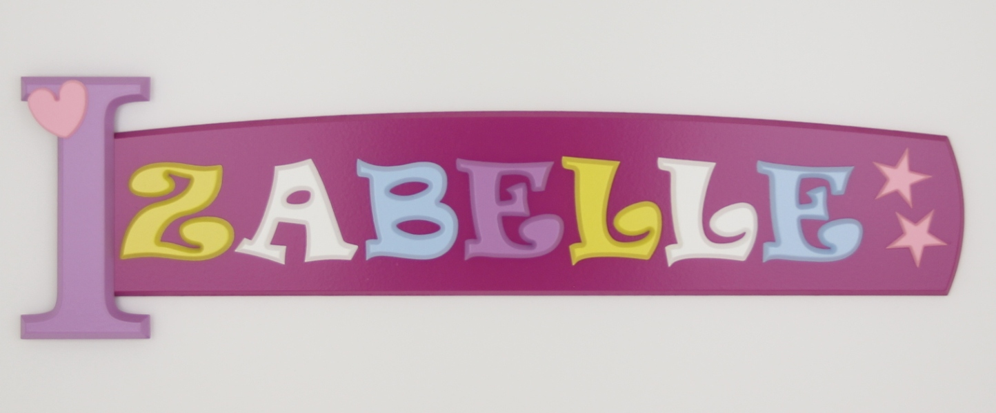painted wooden name sign for Izabelle