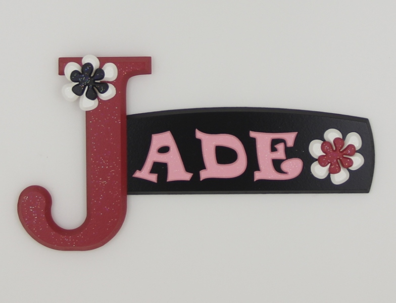 painted wooden name sign for Jade