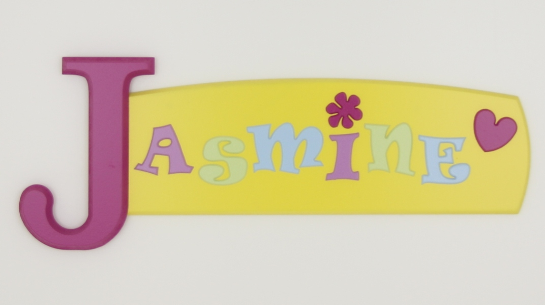 painted wooden name sign for Jasmine