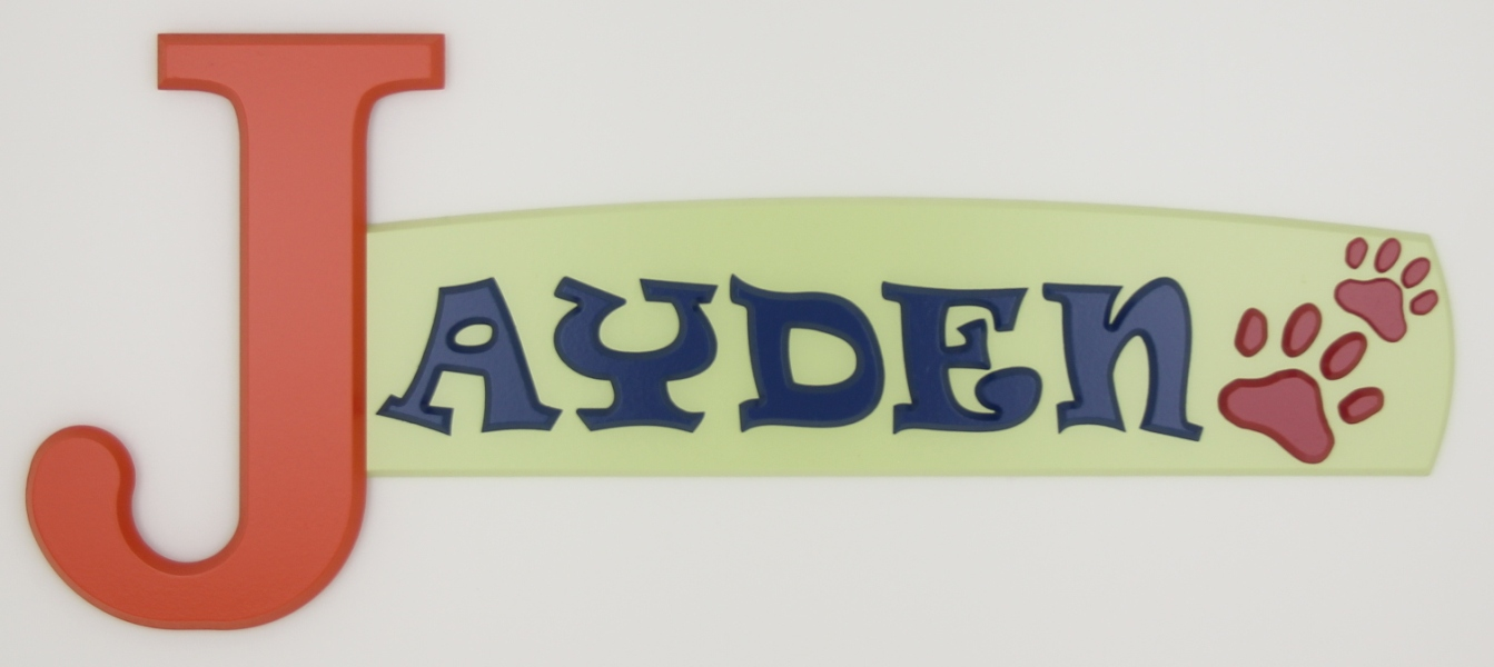 painted wooden name sign for Jayden