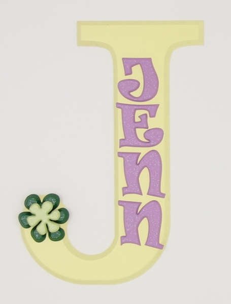 painted wooden name sign for Jenn